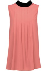 Marni Pleated Crepe De Chine Top Coral