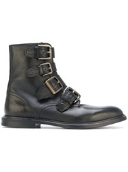 Dolce And Gabbana Buckle Strap Ankle Boots Calf Leather Leather Rubber 41.5 Black