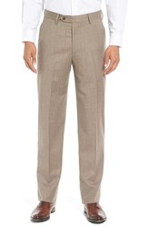 Berle Men's Big And Tall Flat Front Solid Wool Trousers Heather Tan