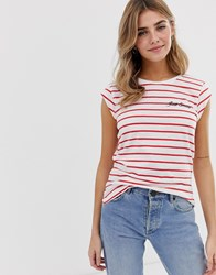 Only Stripe Short Sleeve T Red