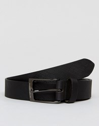 Peter Werth Saffiano Leather Belt In Black