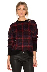 Current Elliott The Plaid Crew Neck Sweater Black