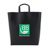 Balenciaga Green Logo Leather Tote Bag Black
