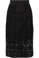 Milly Embroidered Tulle Skirt Black