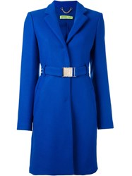 Versace Jeans Single Breasted Coat Blue