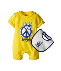 Moschino Kids Romper And Bib Gift Box Infant Yellow Men's Jumpsuit And Rompers One Piece