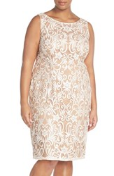 Plus Size Women's Adrianna Papell Sequin Embroidered Bateau Neck Sheath Dress Ivory