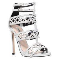 Carvela Garland Studded Stiletto Heel Sandals Silver
