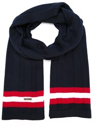 Bally Contrasting Stripe Scarf Blue
