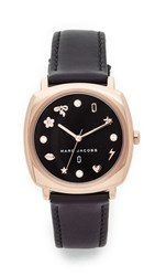 Marc Jacobs Mandy Leather Watch Rose Gold Black Black