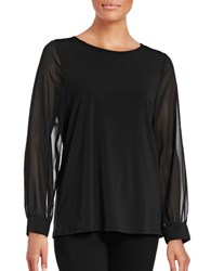 Imnyc Isaac Mizrahi Sheer Sleeve Blouse Black