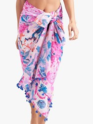 Joules Sirena Floral Cotton Sarong Soft Pink Multi