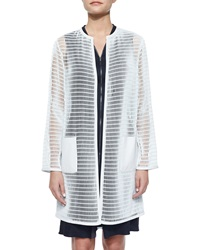 Elie Tahari Melody Mesh Long Coat White Mint