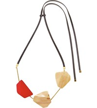 Marni Wood And Leather Pendant Necklace Red
