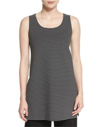 Lafayette 148 New York Sleeveless Scoop Neck Striped Tunic Black