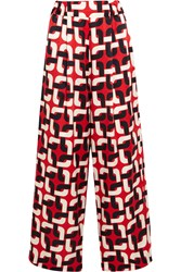 Printed Cotton And Silk Blend Wide Leg Pants Red