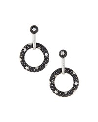 Roberto Coin 18K Diamond And Black Sapphire Open Circle Drop Earrings Women's