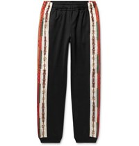 Gucci Slim Fit Tapered Printed Silk Trimmed Jersey Track Pants Black