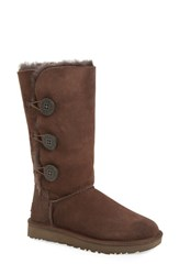 Uggr Women's Ugg 'Bailey Button Triplet Ii' Boot Chocolate Suede