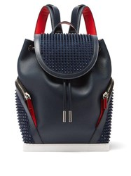 Christian Louboutin Explorafunk Spike Embellished Leather Backpack Blue
