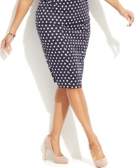 Michael Michael Kors Plus Size Printed Pencil Skirt New Navy
