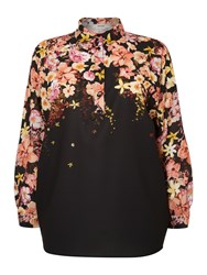 Persona Plus Size Bolivia Long Sleeved Floral Shirt Black