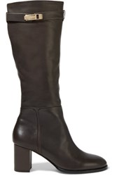 Halston Heritage Ava Embellished Leather Boots Dark Brown