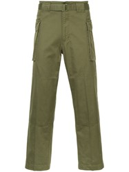 Hysteric Glamour Cropped Cargo Trousers Cotton Green