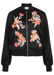 Jonathan Saunders Cecily Black Embroidered Satin Bomber Jacket