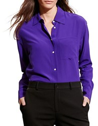 Lauren Ralph Lauren Long Sleeve Silk Shirt Purple