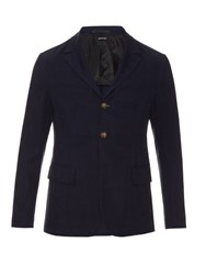 Giorgio Armani Single Breasted Notch Lapel Blazer Navy