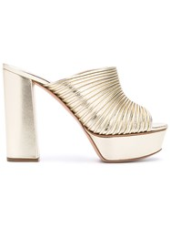 Casadei Open Toe Platform Mules Nude And Neutrals