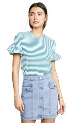 English Factory Smocked Striped Tee Blue Green