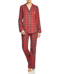 Lauren Ralph Lauren Madison Avenue Brushed Twill Pajama Set Red Plaid
