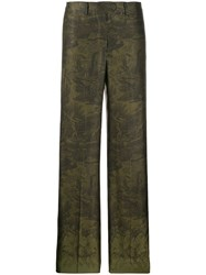 F.R.S For Restless Sleepers High Waisted Patterned Trousers Green