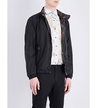 Salvatore Ferragamo Tropical Print Reversible Shell Bomber Jacket Black