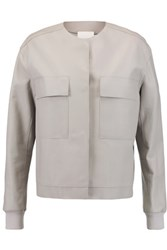 Dkny Leather Bomber Jacket Light Gray