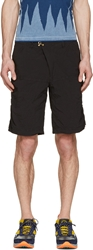 Kolor Black Nylon Crinkled Shorts