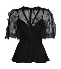 Self Portrait Mason Cape Lace Top Female Black