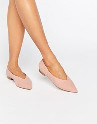 Asos Liana Pointed Ballet Flats Apricot Pink