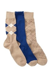 Cole Haan Argyle And Stripe Crew Socks Pack Of 3 Multi