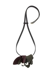 Marni Leather Strass Necklace Brown