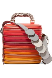 Anya Hindmarch Circle Six Zip Stack Snake Trimmed Leather And Suede Shoulder Bag Red