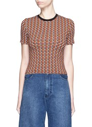 Opening Ceremony Check Stretch Knit Crop Top Orange