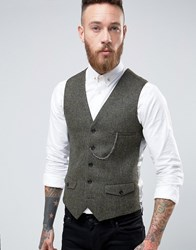 Noose And Monkey Woven In England Super Skinny Waistcoat With Chain Khaki Green