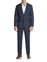 Vince Camuto Slim Fit Micro Check Wool Blend Suit Blue Check