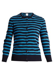 Barrie Breton Striped Cashmere Cardigan Navy Stripe