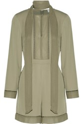 Zimmermann Pussy Bow Silk Chiffon Paneled Crepe Playsuit Army Green
