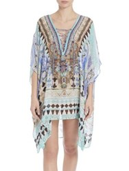 Camilla Short Lace Up Silk Caftan Coverup Multi