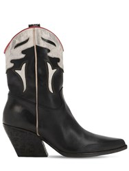 Elena Iachi 60Mm Two Tone Leather Cowboy Boots Black Red White